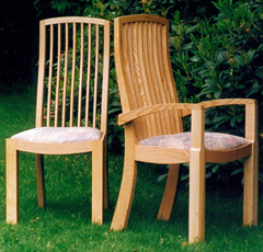 handmade, wooden, dining chairs
